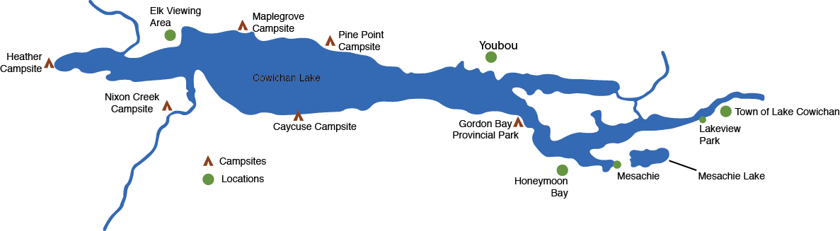 Map of the Cowichan Lake area